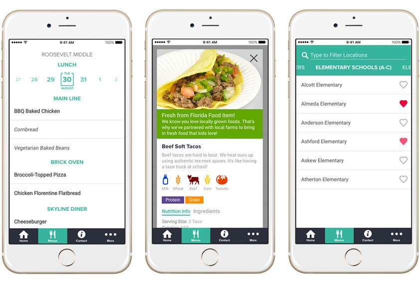 Nutrislice app on a mobile phone