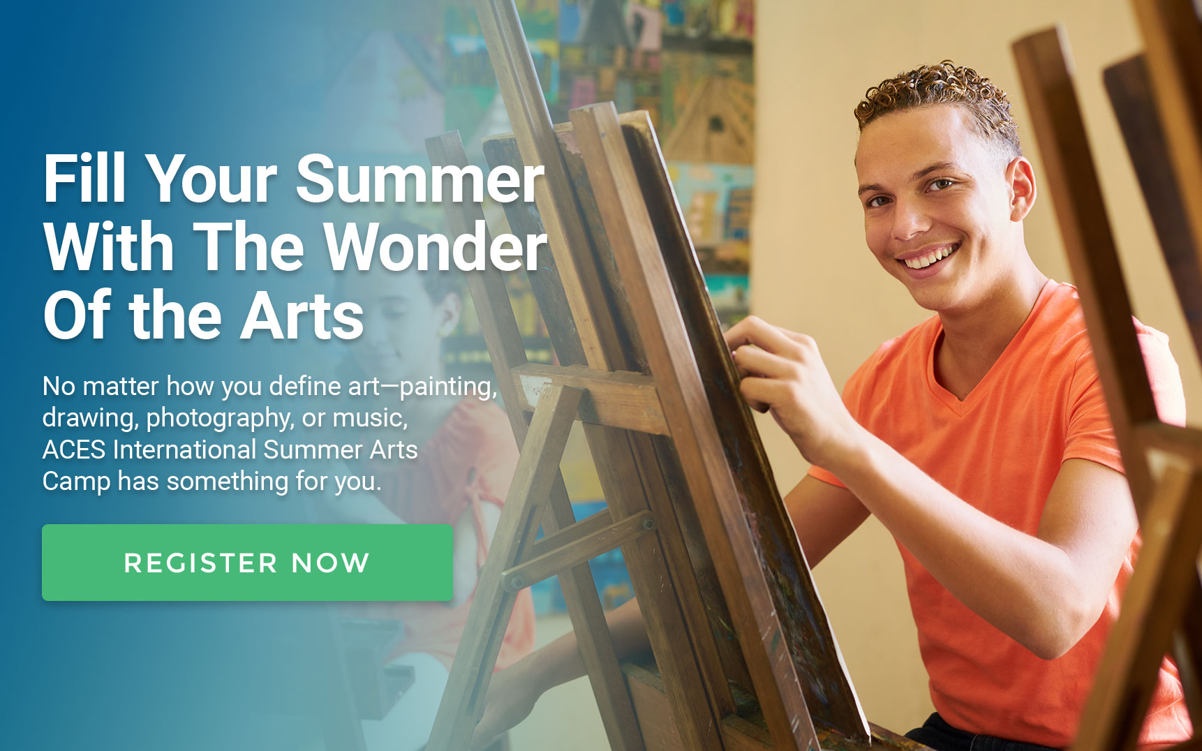 Fill Your Summer With The Wonder Of the Arts. No matter how you define art – painting, drawing, photography, or music, ACES International Summer Arts Camp has something for you. Register Now.