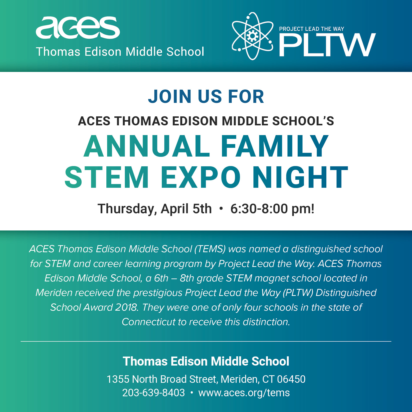 Thomas Edison Middle School Annual Family STEM Expo Night - ACES